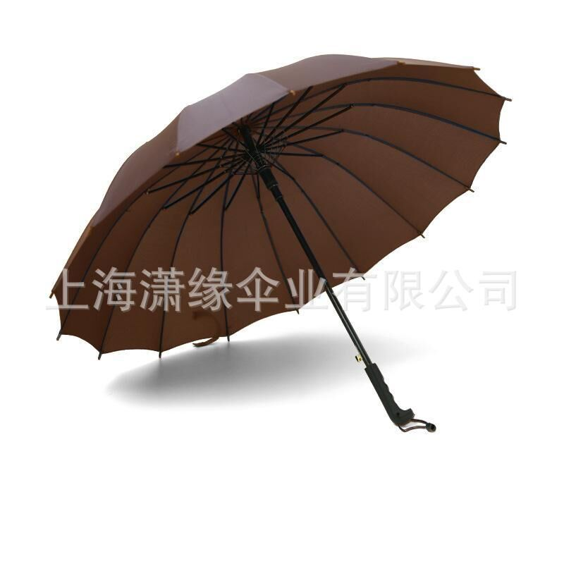 23寸X16骨雨伞 黑色16骨广告伞长柄伞 16片纤维骨