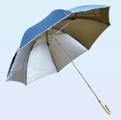 女士直杆晴雨伞、防紫外线高密度银胶布面料、蕾丝边印花