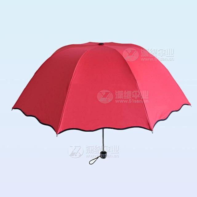 三折遮阳伞 黑胶防紫外线折叠伞 遇水开花太阳伞