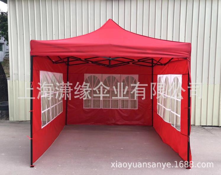 四面围布帐篷、户外广告折叠遮阳雨篷摆摊篷带透明围布折叠帐篷