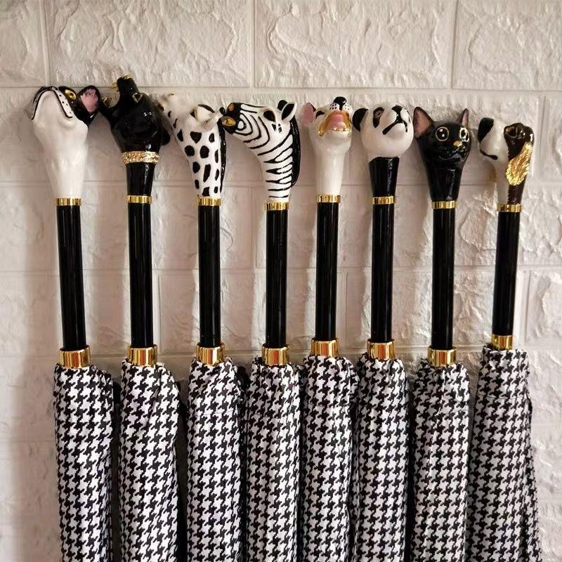 定制个性高端水晶伞柄头、创意潮流动物伞柄加工厂、高端定制雨伞